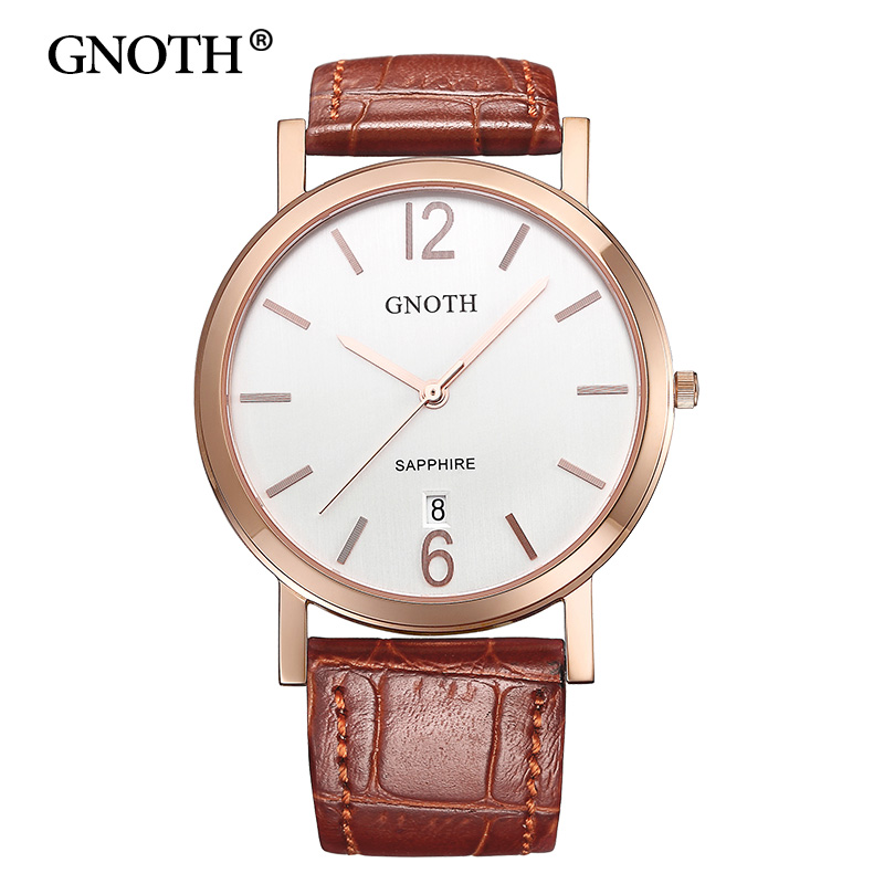 New GNOTH Top Brand Quartz Women Watch Analog Display Sapphire High Quality Leather Strap Female Wristwatches Box Gift Hot Sale 2016 new hot sale brand magic star black white analog quartz bracelet watch wristwatches for women girls men lovers op001