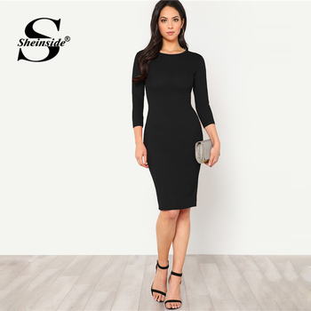 Sheinside Black Elegant Bodycon Women Dress 1