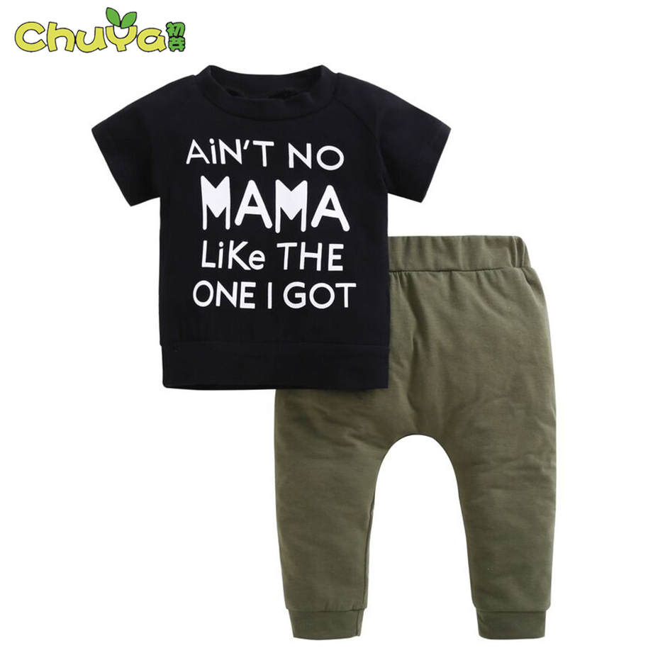 2018 baby boy clothes shot t-shirt aint no mama like the one i got+Army green pants baby clothes boys summer clothing sets