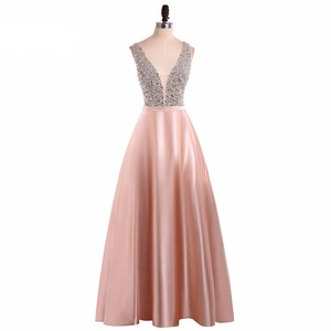 Image 5 - Menoqo V Neck Beads Bodice Open Back A Line Long Evening Dress Party Elegant Vestido De Festa Fast Shipping Prom Gowns