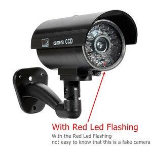 Image 3 - 4 قطعة كاميرا وهمية مقاوم للماء وهمية في الهواء الطلق داخلي رصاصة الأمن CCTV كاميرا مراقبة وامض الأحمر LED شحن مجاني