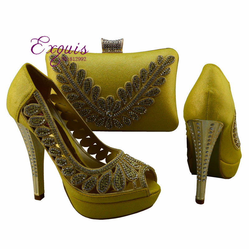 ФОТО Italy design African women fashion high heel shoes matching handbag  for big wedding / party 1308-L71 yellow with free shipping