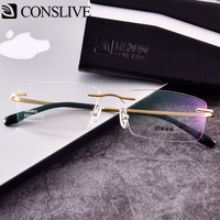 Rimless Titanium Glasses Frames for Men Myopic Nearsighted Rimless Eyeglasses Man Optical Glass Spectacles Frame J85802