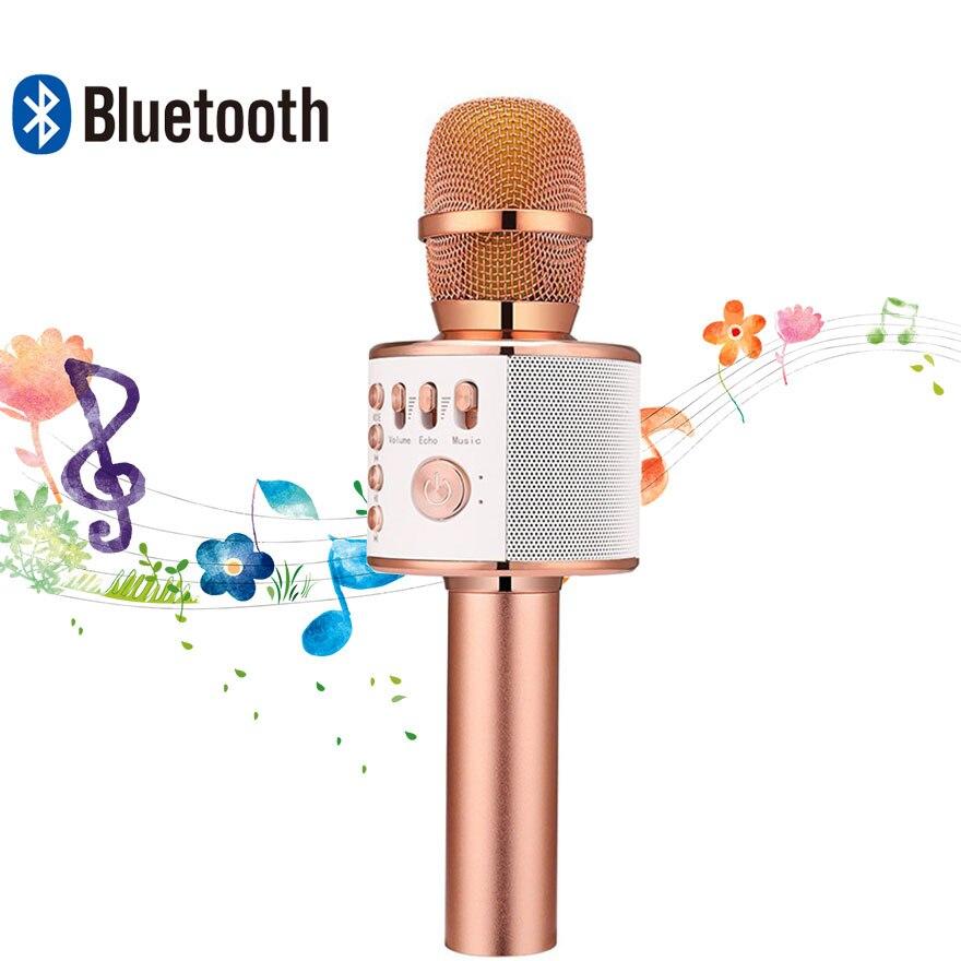 WS-858 Bluetooth Microfono Senza Fili Palmare karaoke Microfono A Condensatore Altoparlante Mikrofon per il Telefono Del Computer Microfono Casa