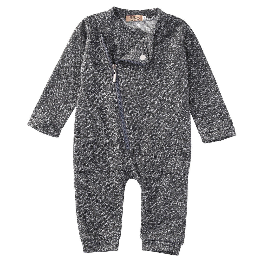 Newborn Infant Baby Boys Girls Cotton Gray Sweatshirt Romper Clothes Autumn Winter Outfits 0-24M puseky 2017 infant romper baby boys girls jumpsuit newborn bebe clothing hooded toddler baby clothes cute panda romper costumes