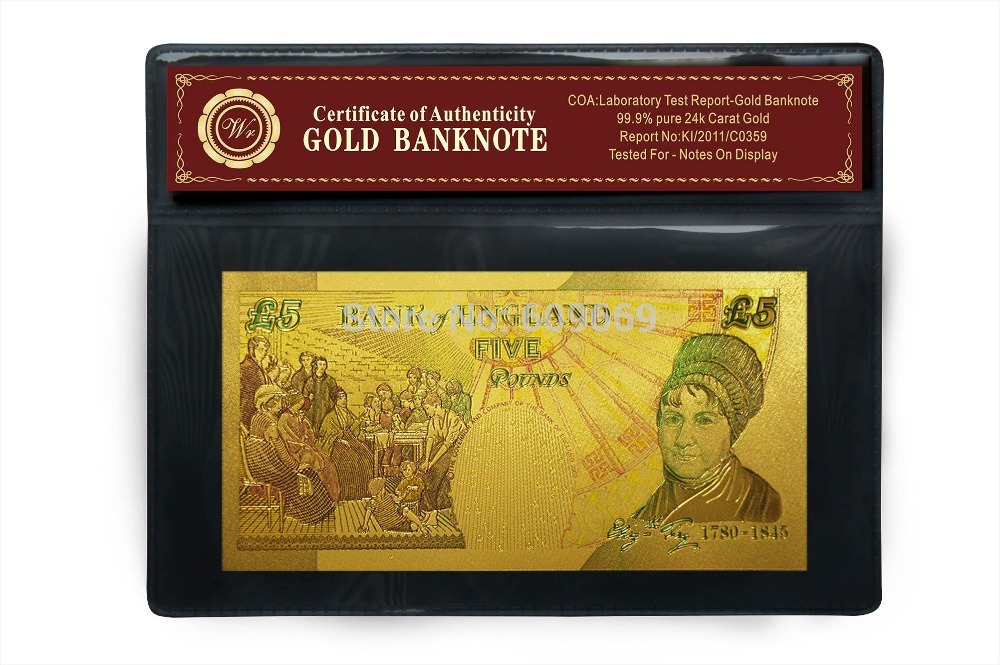 United Kingdom Pound Colorful Gold Foil Plated Double Design Uk Banknote For Collection Paper Money In Banknotes From Home Garden On