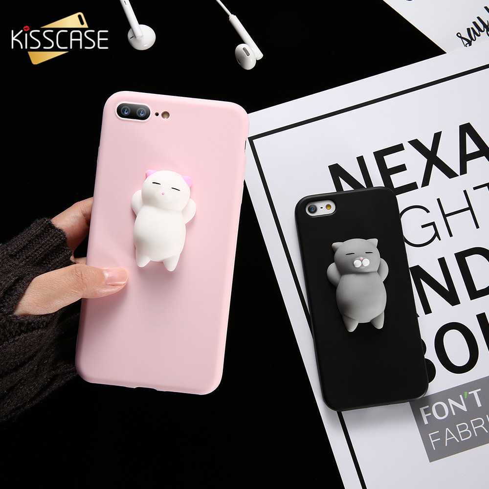 new style 970d7 426e3 KISSCASE Squishy Cat Case For iPhone 7 7 plus 8 8plus 3D Lovely Cute Mobile  Phone Cover for iPhone 5 5S Se Cartoon Case for 6 6s