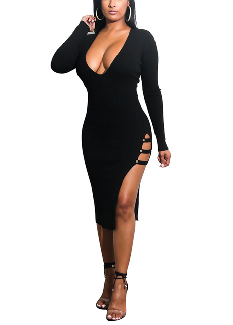 5cbf6af2044 Women High Slit Dress Cut Out Side Deep V Neck Long Sleeves Bodycon Dress  female Midi Bandage Party Dress Lady Office Work Wear
