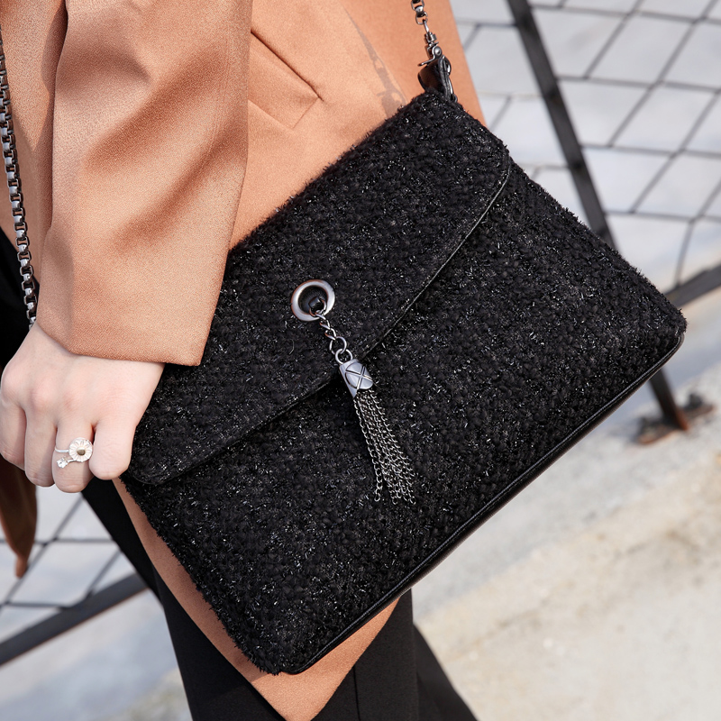 Woolen cloth tassel bag small lady chain Crossbody messenger Bags for Women's Shoulder bolsa franja Handbags