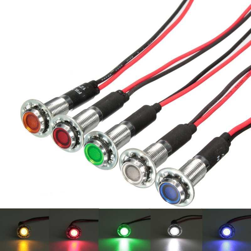 12V 8mm LED Dash Pilot Panel Indicator Warning Light Lamp