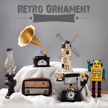 2018 New Creative Ornaments Retro Style Resin Crafts Radio TV Windmill Robot Desktop Office Study Decoration Home Decoration