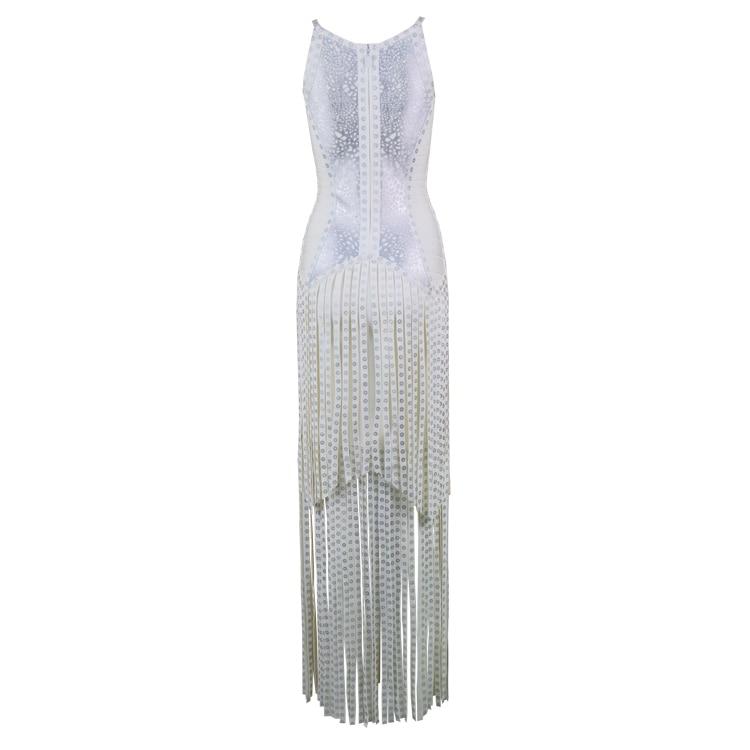 Femmes 2018 Élégant Parti Designer Sexy Bandage Impression Luxe Gland Robe De Long Tricoté Sangle FZrqwFz