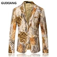 2017 New style Men's leisure fashion Leopard grain high quality suits printing blazers men jackets, Men's flannel blazers