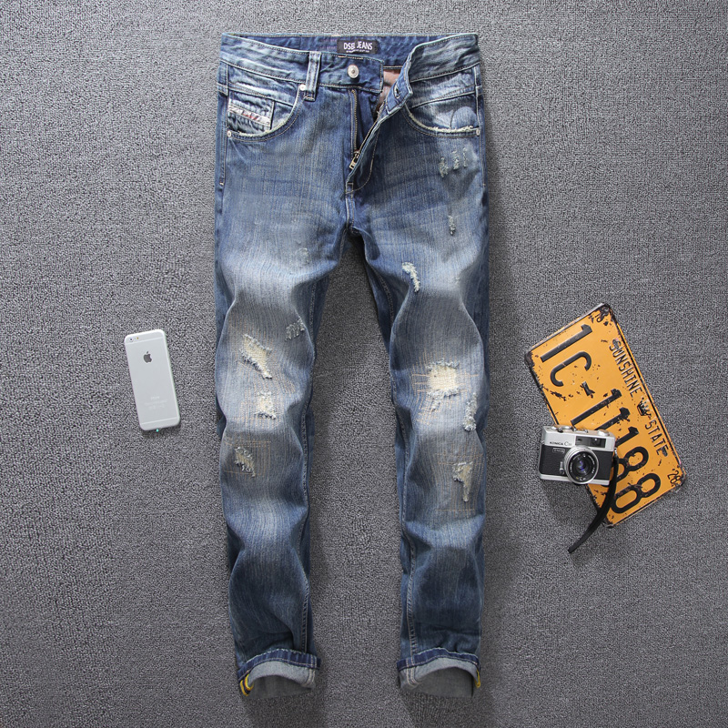 Summer Style Blue Color Denim Mens Jeans DSEL Brand Elastic Destroyed Ripped Jeans Men Casual Pants Stretch Skinny Stripe Jeans patch jeans men slim skinny denim blue jeans ripped trousers famous brand dsel jeans elastic pants star mens stretch jeans w701