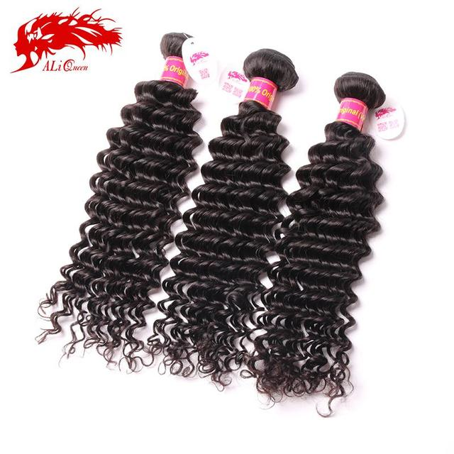 Ali Queen Hair Cheap 6A Brazilian Deep Wave Curly Virgin Hair Weave 3 Bundles Unprocessed Virgin Brazilian Human Hair weave