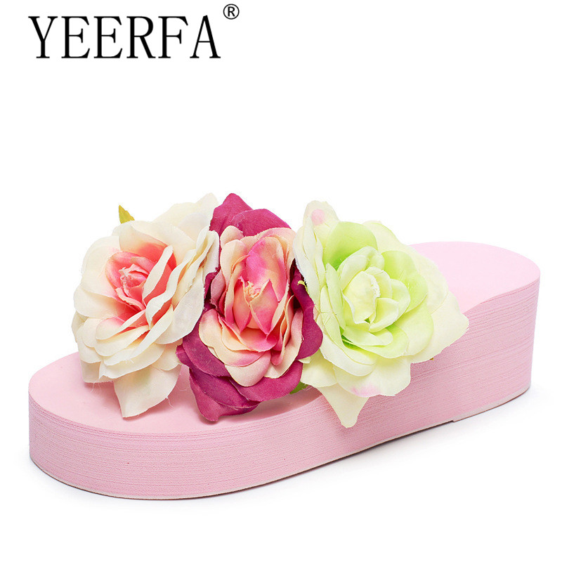 YEERFA Summer Flip Flops 2017 Beach Wedges Sandals Slip On Flats Casual Creepers Platform Shoes Woman Sweet Slippers SIZE 35-40
