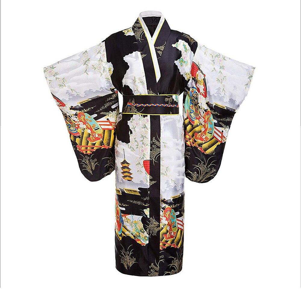 Black women Lady Japanese Tradition Yukata Kimono Bath Robe Gown With Obi Flower Vintage Evening Party