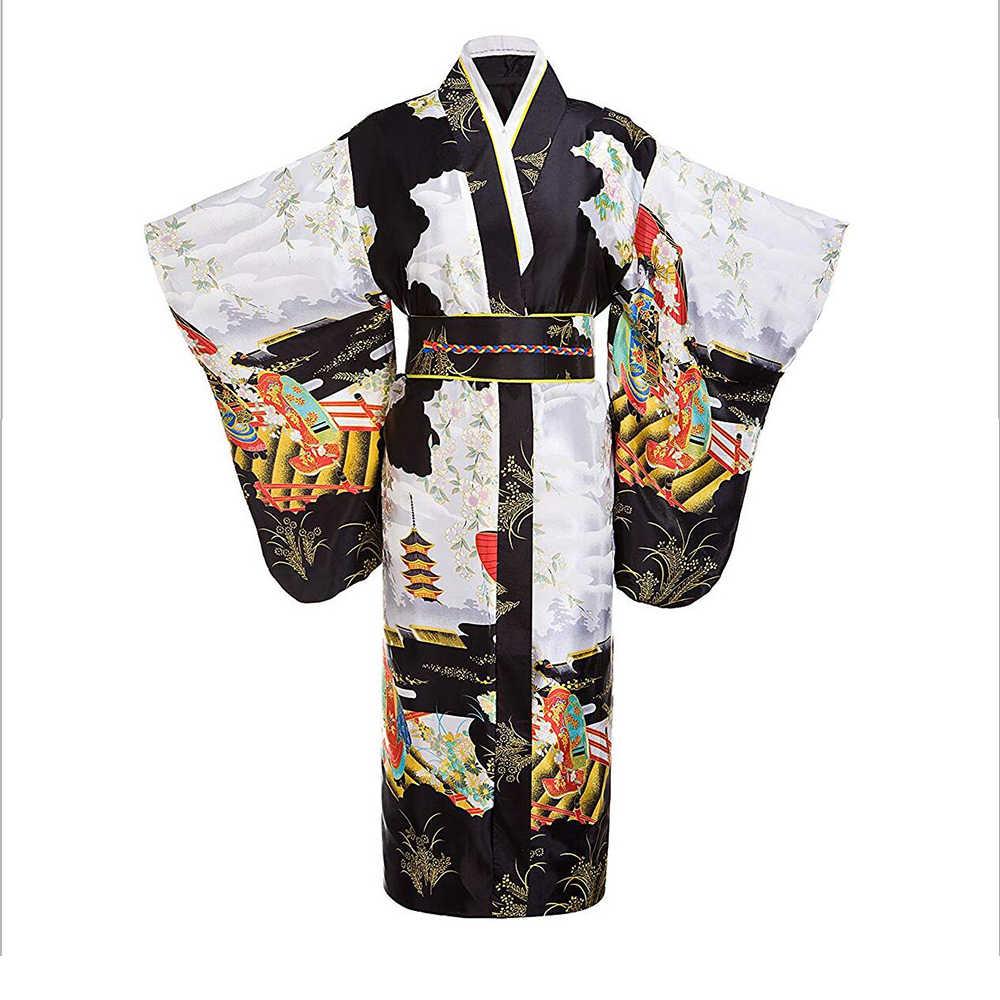d66f907bf Black women Lady Japanese Tradition Yukata Kimono Bath Robe Gown With Obi  Flower Vintage Evening Party