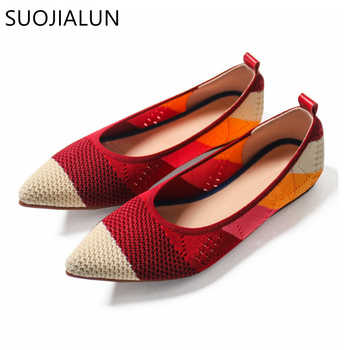 SUOJIALUN 2019 Spring Women Flats Pointed Toe Slip on Ballet Flat Shoes Shallow Boat Shoes Woman Loafer Ladies Shoes Zapatos