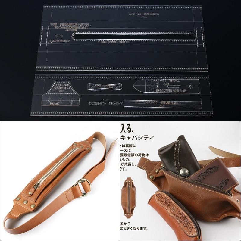 1 conjunto de molde de estêncil acrílico diy artesanato couro artesanal crossbody saco cintura pacote costura padrão 8*42*1cm