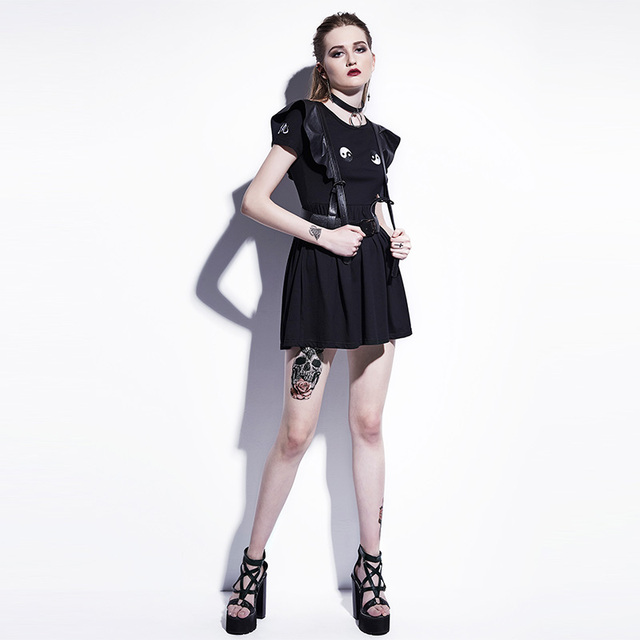Young17 Gothic Mini Dresses Women Black A-Line Summer New O-Neck Pullover Embroidery Plain Fashion Sexy Club Gothic Mini Dresses 2