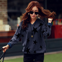 New Autumn Women Mixed Color Plus Size Oversized Loose Knitted Pullover Jumper Sweater V Neck Long