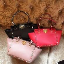 New 2016 Trapeze Luxury Handbags Women Bags Designer Fashion Genuine Leather Rivet Handbags High Quality Women Messenger Bags