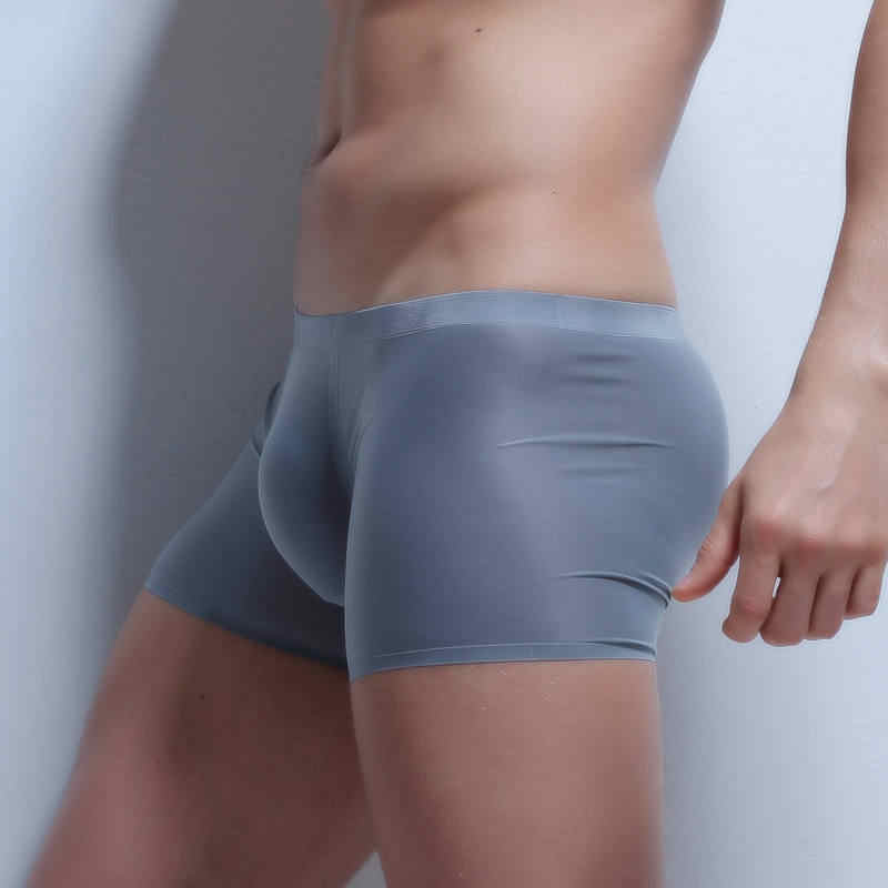 Men's Seamless Underwear Sexy Ultra Thin Boxers Sexy Mens Bulge Pouch Boxers Shorts Trunks Ice Silk Underpants Smooth Bottoms