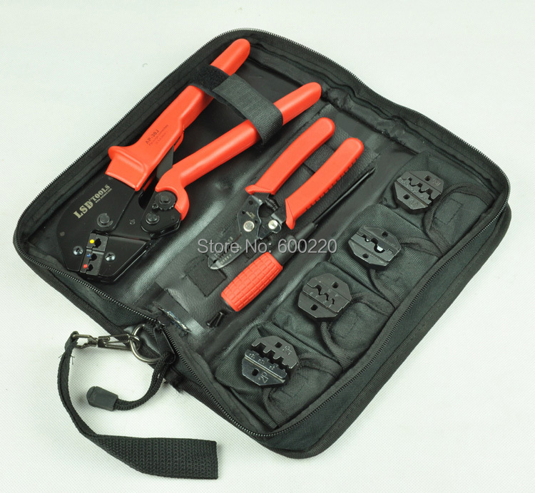 Crimping tool kit for crimping terminals with cable stripper and cutter,screwdriver and replaceable dies,crimping tool set  цены