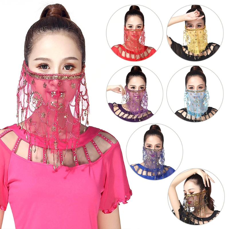 Womens Indian Belly Dance Face Veil Sequins Tribal Costume Scarf Carnival Party W729