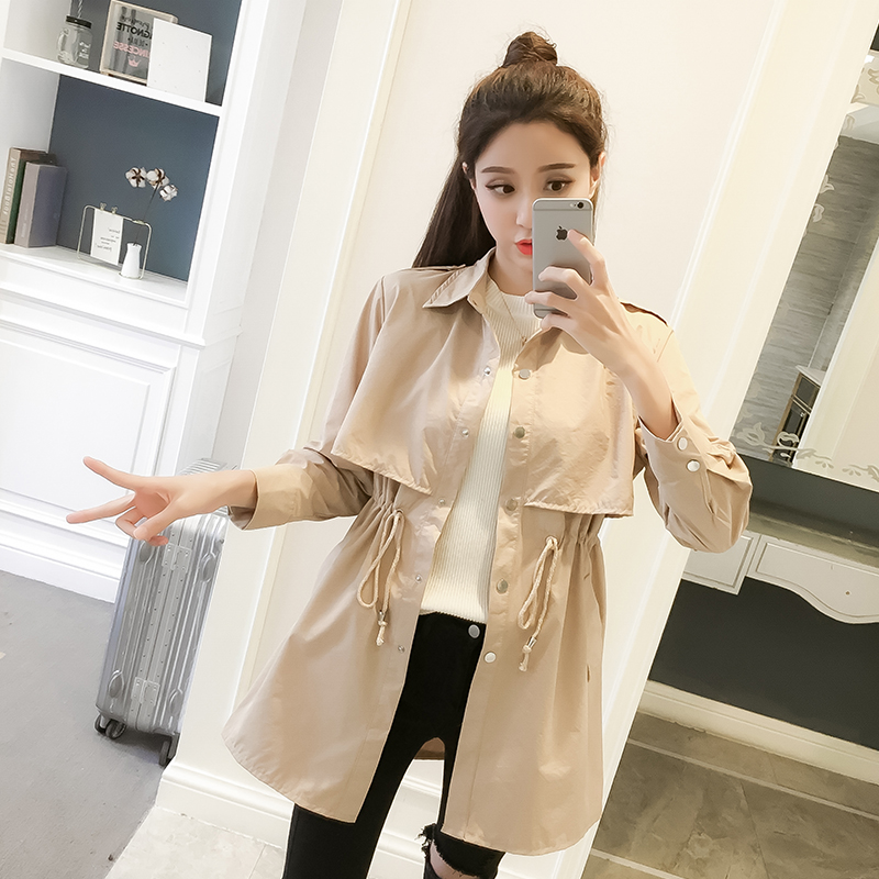 Ailegogo Women Spring Turn-down Collar   Trench   Coat Casual Lace Up Slim OL Style Outwear Long Sleeve Medium Long Coats