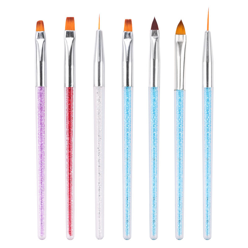 7 Styles Rhinestone Acrylic Handle Brushes Nail Art Line Flower Painting Coating Shaping Flat Fan Angle Pen