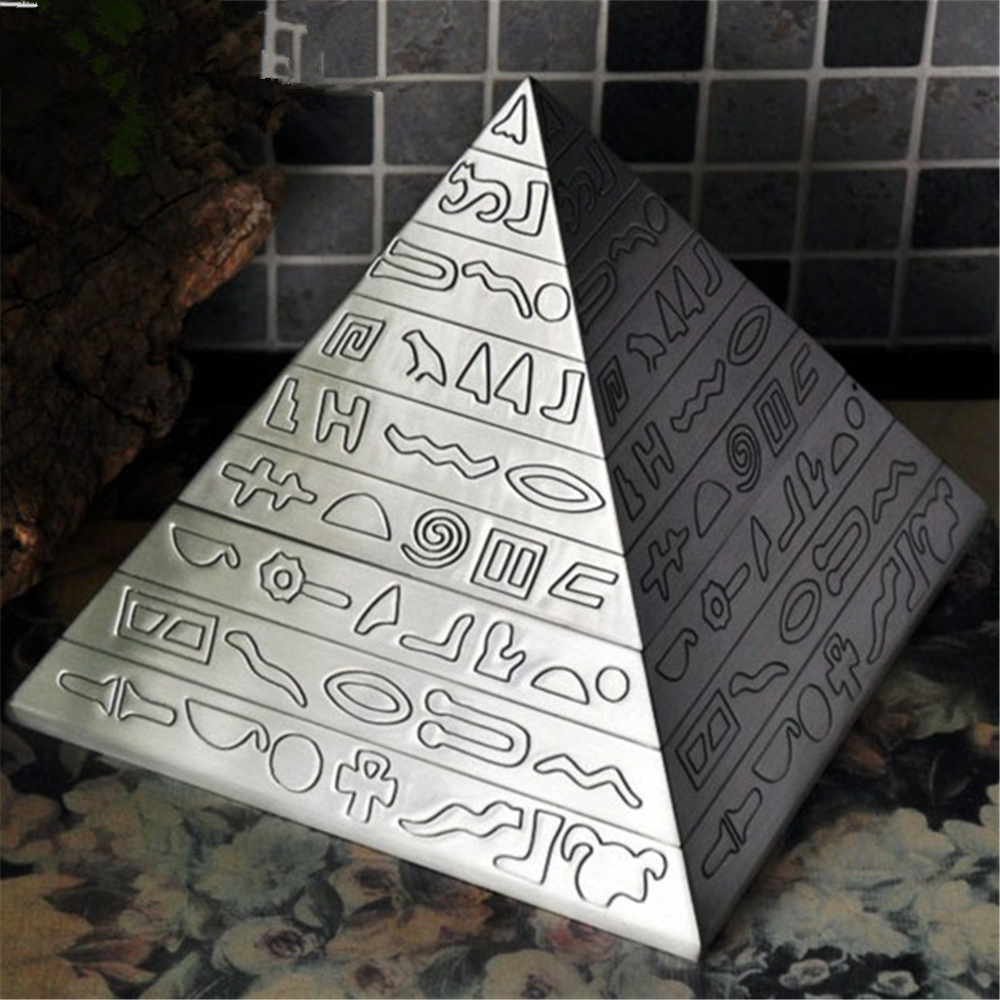 High Quality Ashtray The ancient Egyptian pyramid Zinc Alloy Ashtray Home Office Desk Decoration 4555 fashionable aluminum alloy smoking area ashtray deep blue