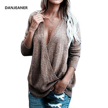 цена на Danjeaner Sexy Deep V-neck Criss-Cross Rabbit Cashmere Pullover Winter Women Plus Size Knitted Sweaters Slim Jumper Knitwear Top