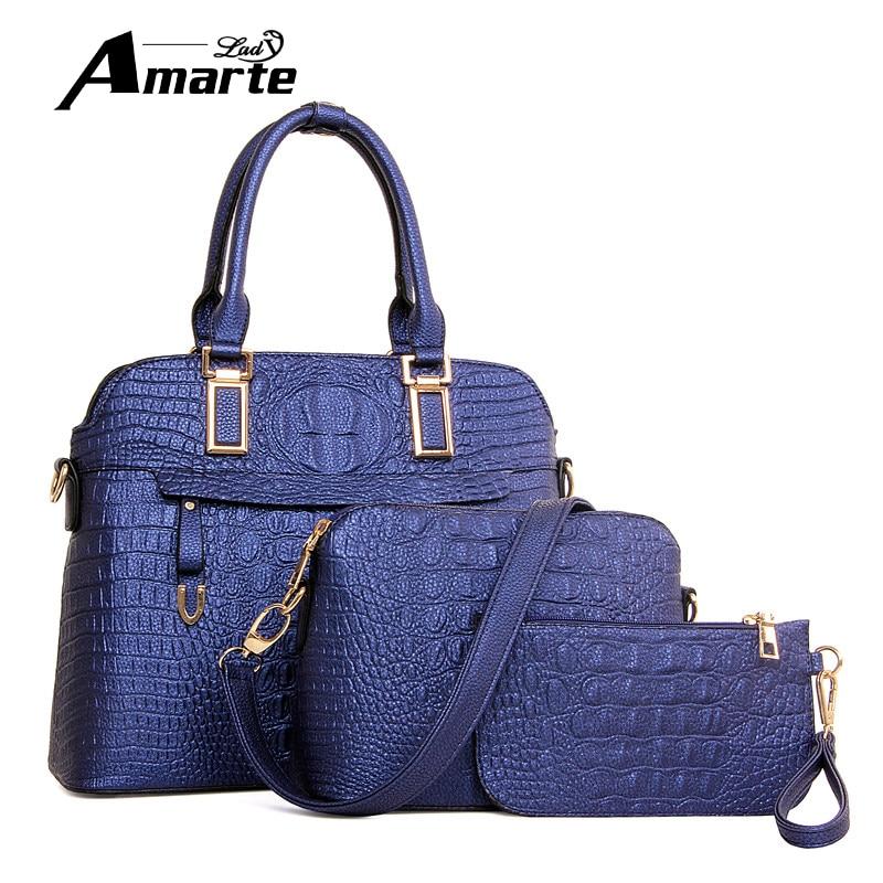 ФОТО 2017 New Women Luxury Brand Leather Handbags Solid Zipper Shoulder Bags Fashion Women 3D Alligator Design 3pcs Composite Bags