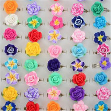 MixLot Wholesale 10Pcs/lot Mix Colors Polymer Clay Flower Alloy Rings For Kids Girls Adjsutable Ring Birthday Gift