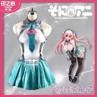 [Customize] 2017 Anime Vocaloid Miku Sonico Racing Suit Sexy Dress Unifrom Cosplay Costume For Women Christmas Free Shipping New