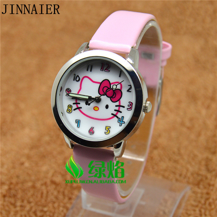 Free Shipping 10pcs/lot Wholesales Hot Sales 3D Cartoon Red KT Students Kids Girls Gifts Quartz Watch Small Leather Wristwatch