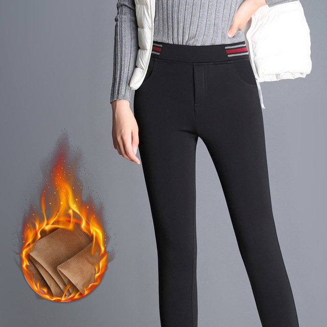 6aa9a158449 Autumn and Winter Plus Size Pants Women Velvet Thick Warm Leggings Elastic  High Waist Pencil Skinny Ladies Work Long Trousers
