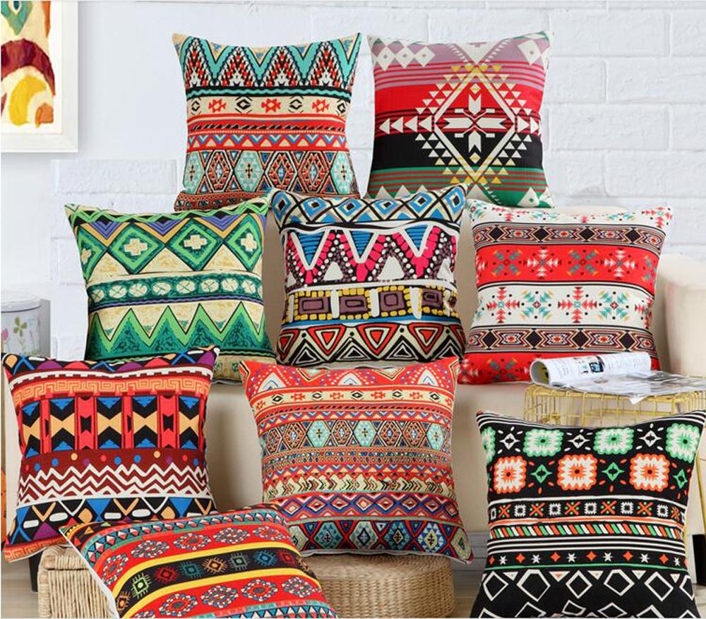Bohême style housse de coussin géométrique national africain bande coussin décoratif couvre taies doreiller