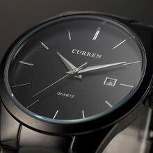 Новый Топ Элитный бренд кварцевые часы Мужская мода платье тег черный полный стали Бизнес Colck мужской простой Повседневное наручные часы подарок