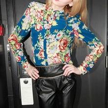 Fashion Retro Floral Print Pattern Chiffon Blouse Vintage Women Long Sleeve Mandarin Collar Shirts