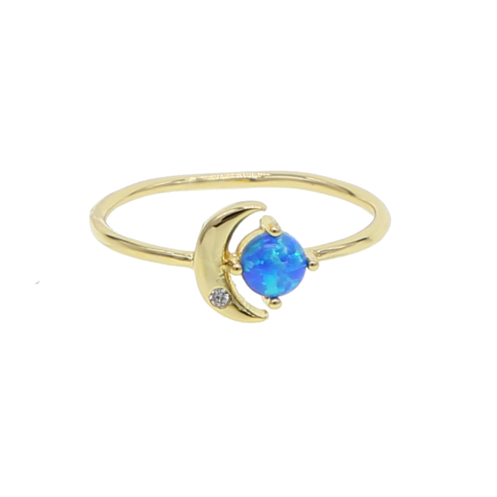 US $7 27 9% OFF|New Design blue Fire Opal MOON & SUN Ring Fashion Jewelry  Women gold Color round cubic zircon Rings 2019 wholesale-in Engagement  Rings