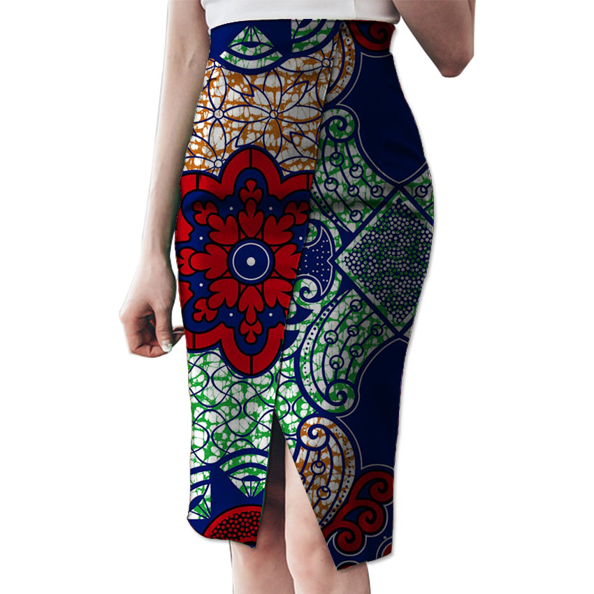 Fashion Side Slit Tailoring African Skirt Womens Colorful African Print Element Dashiki Clothing Tailor Custom For Wedding/Party
