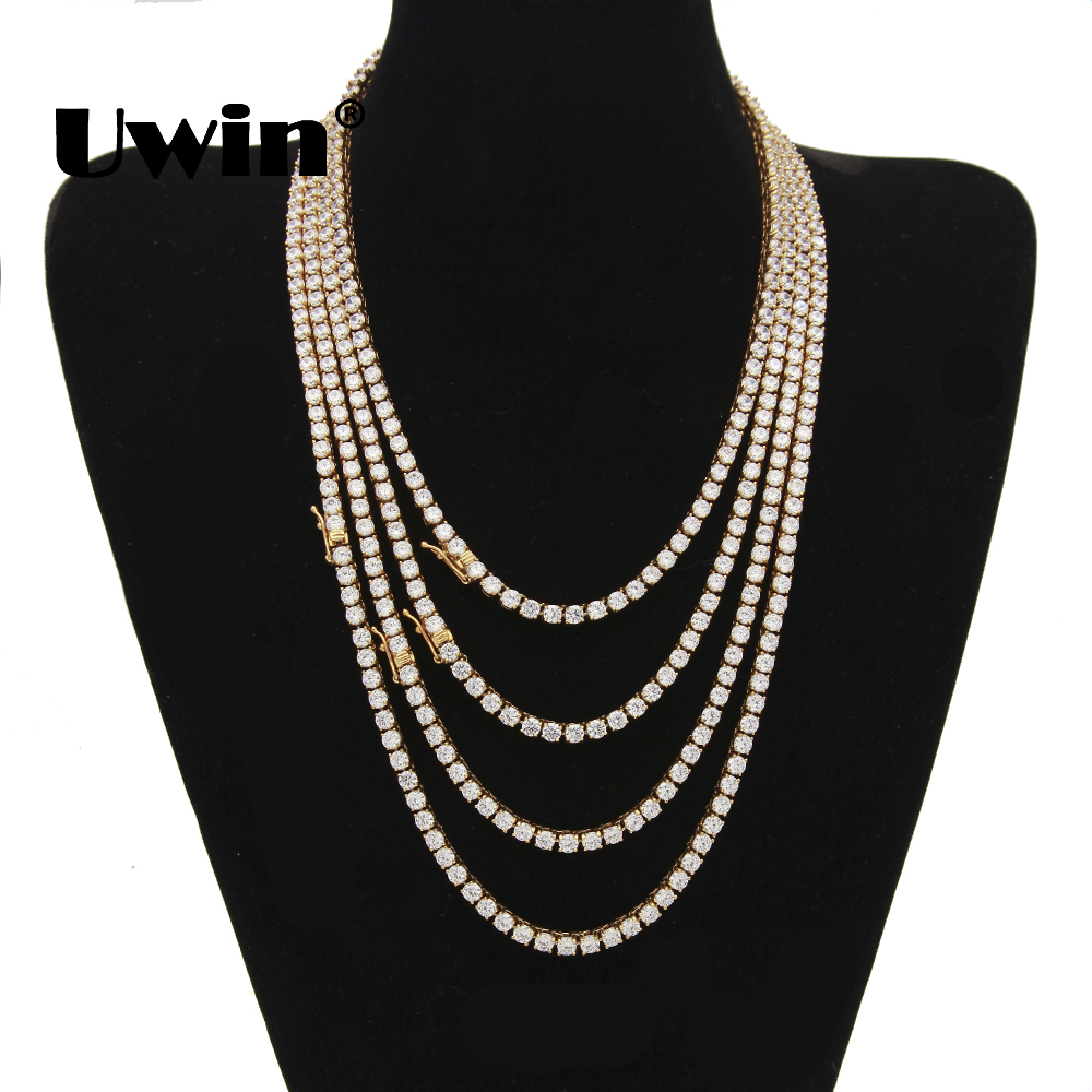 Uwin Stainless Steel Cubic Zirconia CZ Tennis Chain 4mm&5mm&6mm Width Gold Silver Color Fashion Hiphop Iced Out Necklace Jewelry