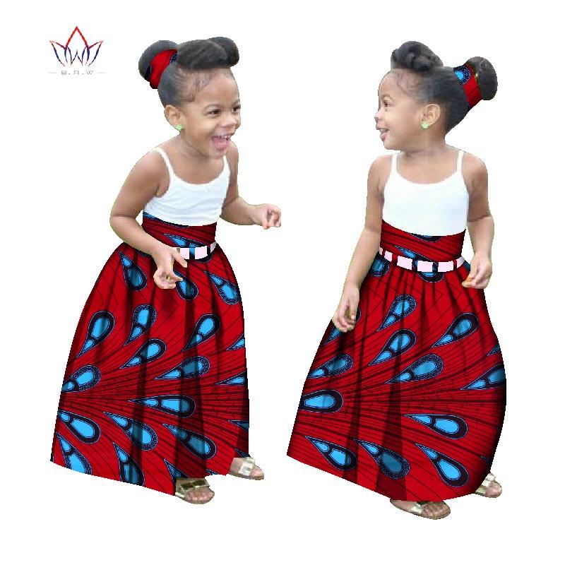 Été enfants vêtements africains personnalisés fille mode longue jupe africaine Dashiki imprimer vêtements avec un bandeau gratuit BRW WYT34