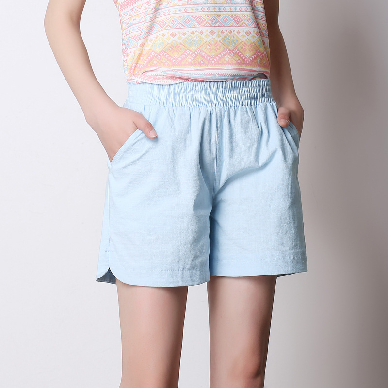 Woman Summer Plus Size Mid Elastic Waist Solid Straight Cotton Shorts Lady Thin Short Female Spring Oversized Flax Loose Shorts