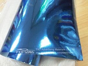 Image 3 - 50CM*1M/2M/3M/4M/5M Roll Car styling High stretchable Light blue Chrome Mirror Vinyl Wrap Sheet Roll Film Car Sticker Car Body