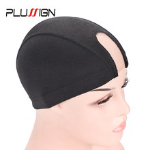 Plussign S/M/L Black Hairnets 1Pcs U Part Wig Caps For Making Wigs Breathable Spandex Dome Caps Professional Wig Making Tools(China)