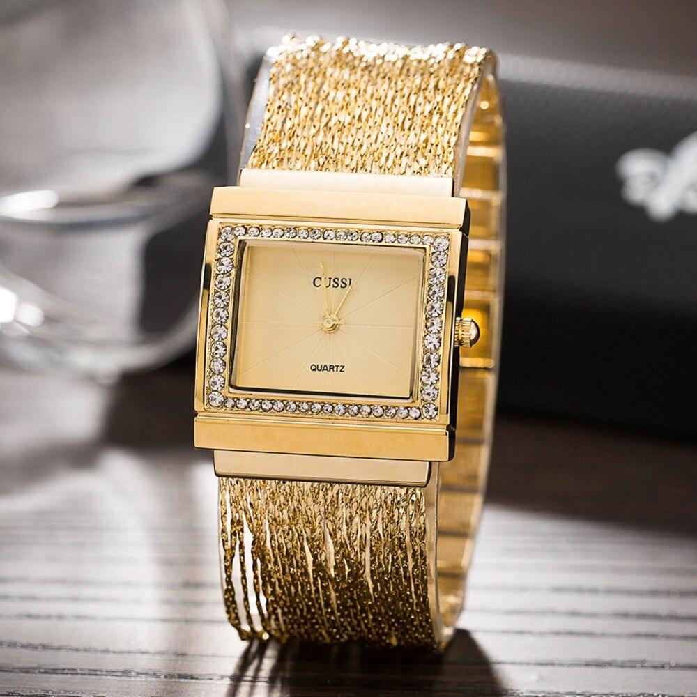 CUSSI moda de lujo de las mujeres pulsera de oro oro rosa plata borlas  cadena pulsera Relojes alta calidad vestido reloj bb7953ab198f